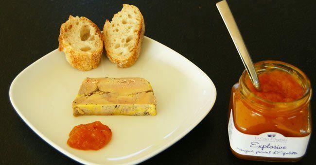 Foie gras et confiture mangue au piment d'Espelette